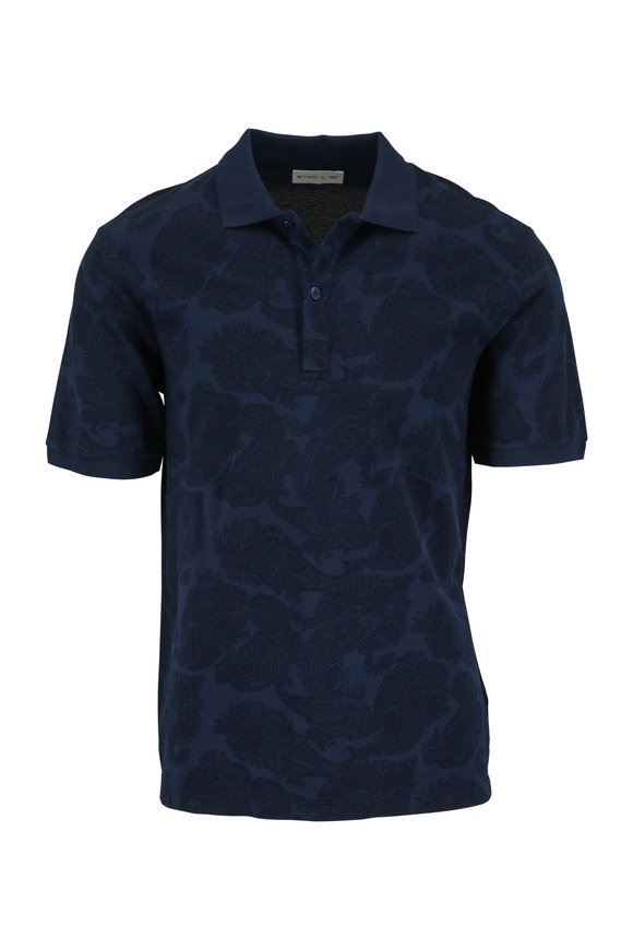Etro Navy Blue Paisley Polo