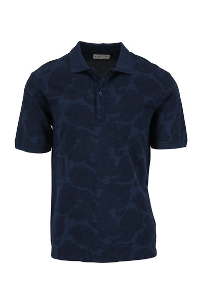 Etro - Navy Blue Paisley Polo