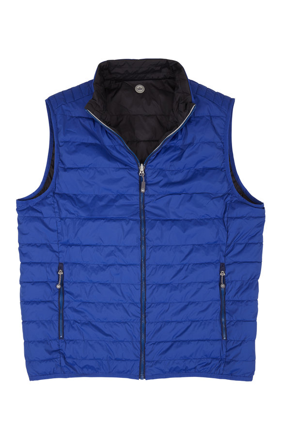 Peter Millar Elite Blue & Black Quilted Reversible Vest