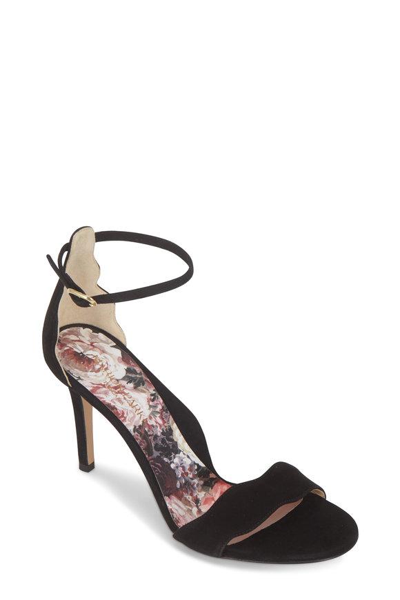 Marion Parke Fiona Black Suede Scallop Sandal, 85mm