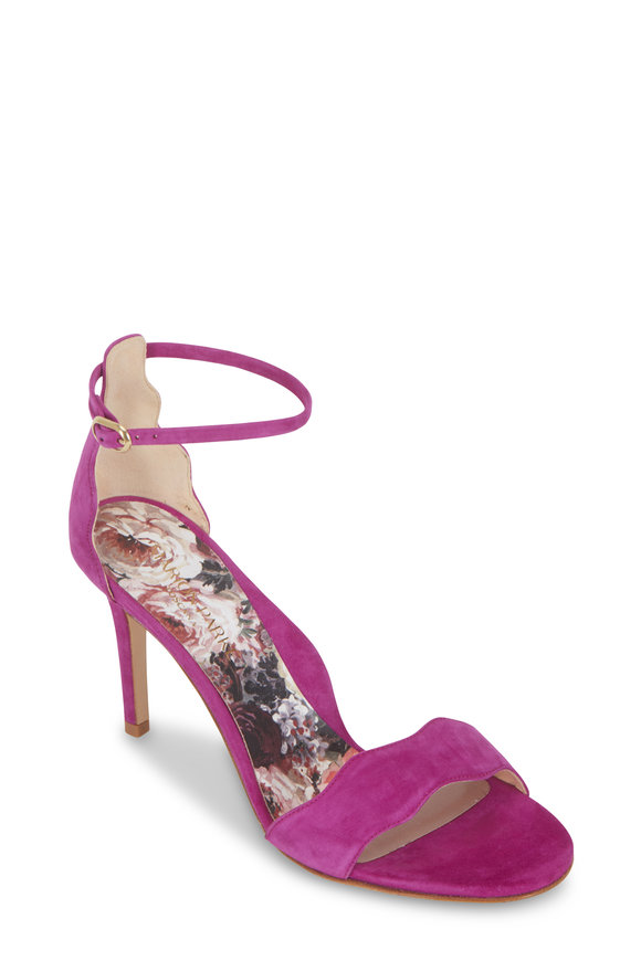Marion Parke Fiona Orchid Suede Scallop Sandal, 85mm