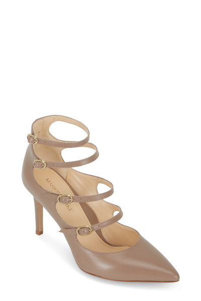 Marion Parke - Mitchell Sand Leather Multi Strap Pump, 85mm