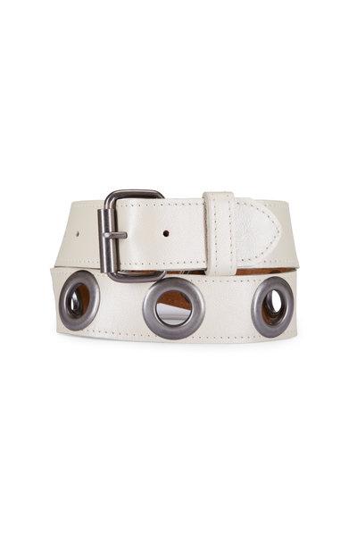Kim White - Ivory Metallic Leather Oval Buckle Belt