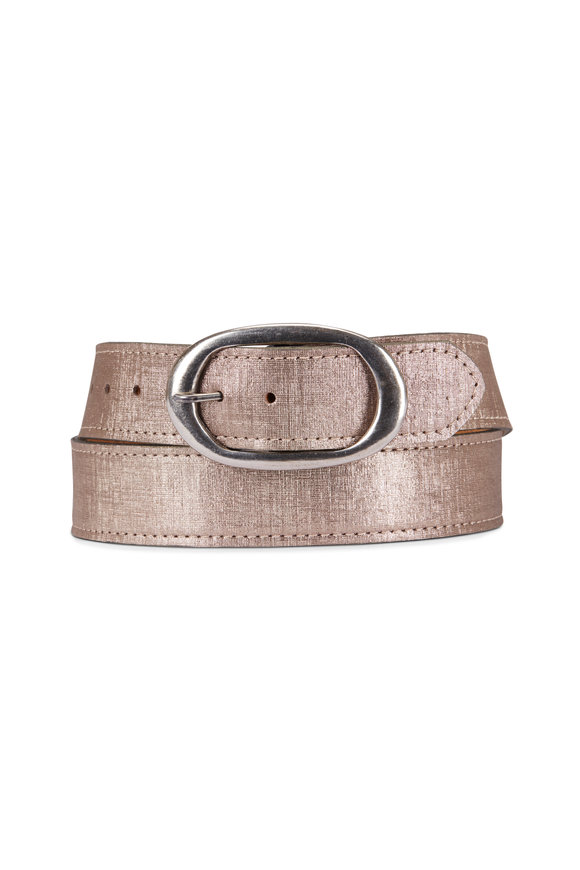 Kim White Metallic Gold Oval Buckle Belt