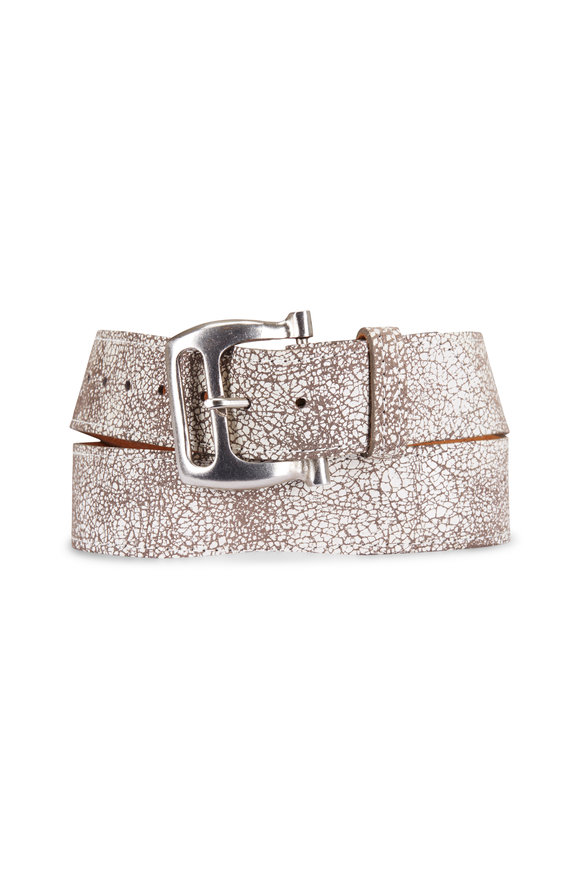 Kim White Crackled White Leather Buckle Belt