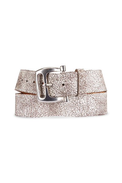 Kim White - Crackled White Leather Buckle Belt
