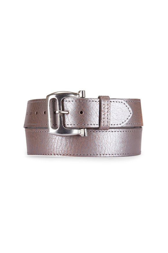 Kim White Metallic Silver Leather Buckle Belt