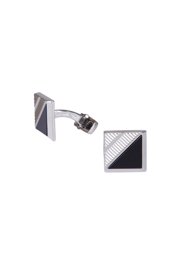 Dunhill Helix Onyx Sterling Silver Cuff Links