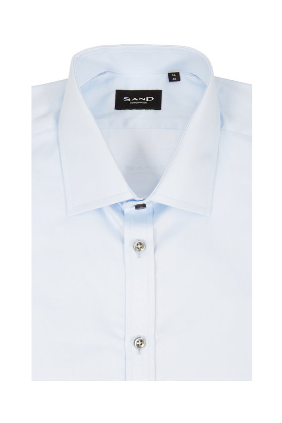 Sand Staten Light Blue Sateen Regular Fit Sport Shirt