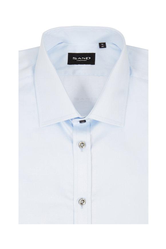 Sand Light Blue Sateen Regular Fit Sport Shirt