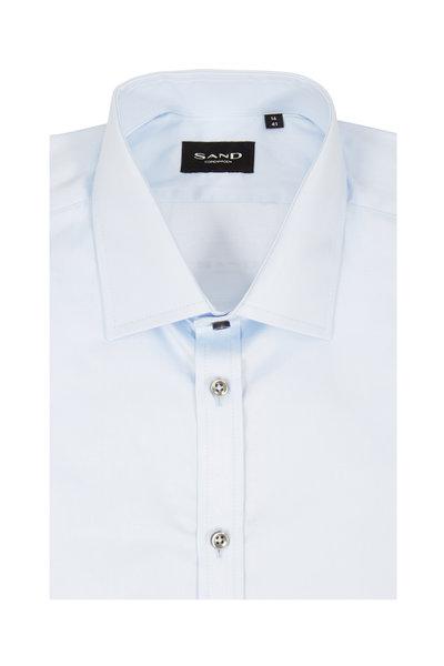 Sand - Staten Light Blue Sateen Regular Fit Sport Shirt