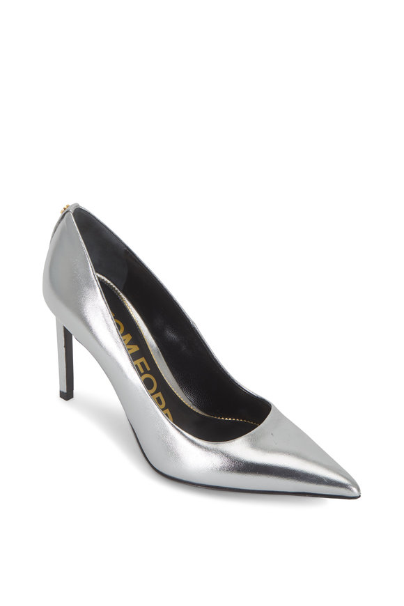 Tom Ford Silver Metallic Leather Classic Pointed Pump, 90mm