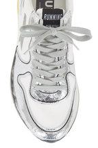 Golden Goose - White Leather & Crackled Silver Running Sneaker