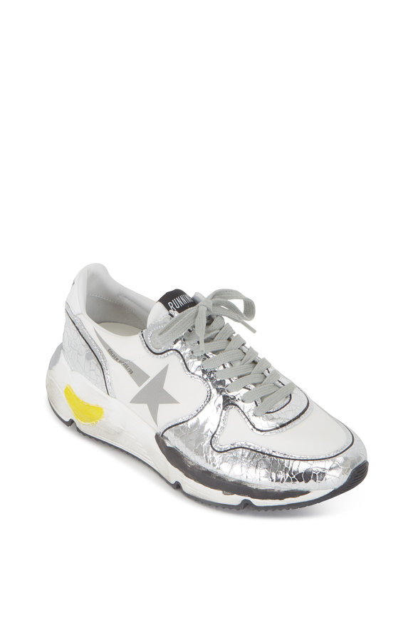 Golden Goose White & Crackled Silver Leather Running Sneaker