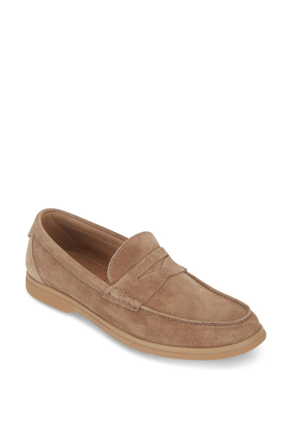 Brunello Cucinelli Light Brown Suede Soft Penny Loafer