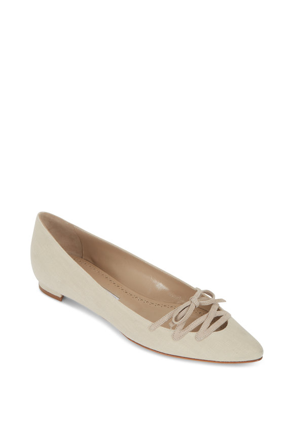 Manolo Blahnik Sirte Tan Linen Lace-Up Flat