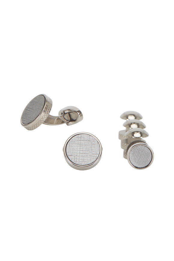 Tateossian Brushed Titanium Stud Set