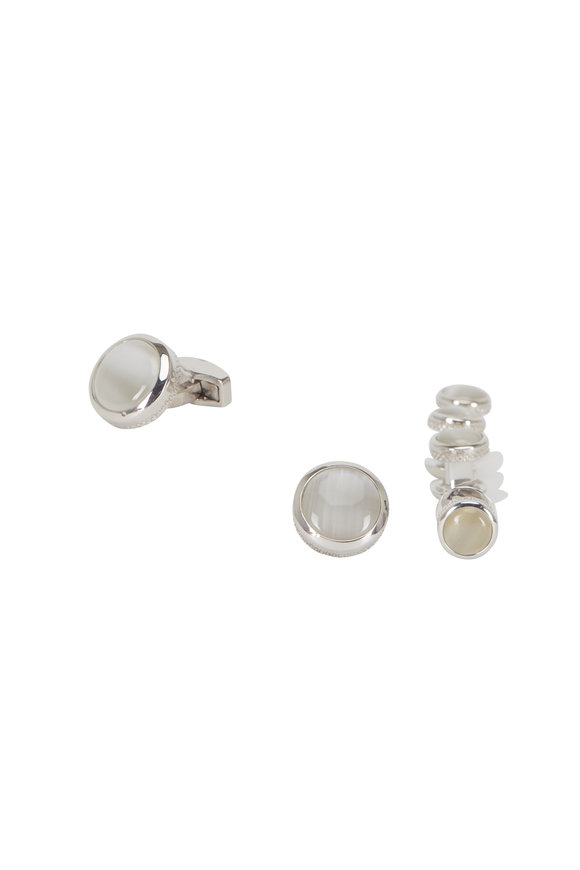 Tateossian White Fiber Glass Round Stud Set