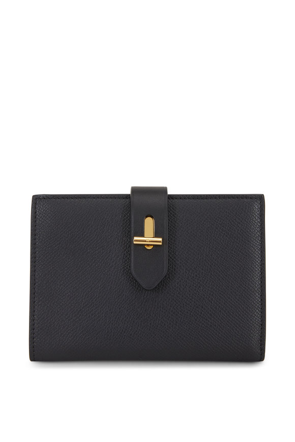 Tom Ford Tara Black Grained Leather Fold-Over Wallet