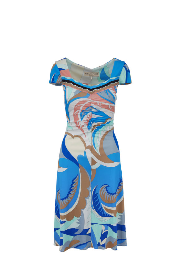 Pucci Blue Printed Cap Sleeve Dress