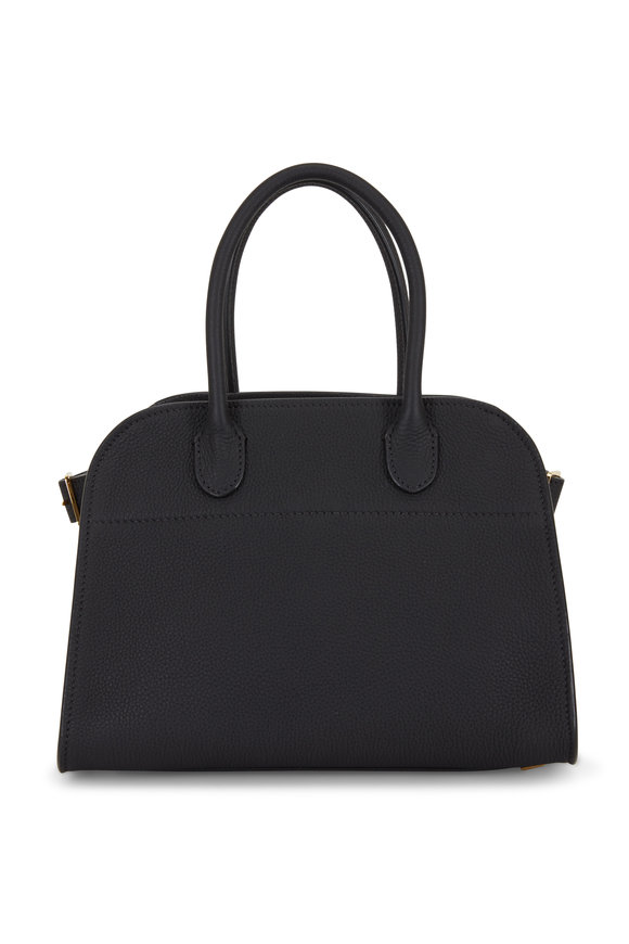 The Row Margaux 10 Black Grained Leather Top Handle Bag