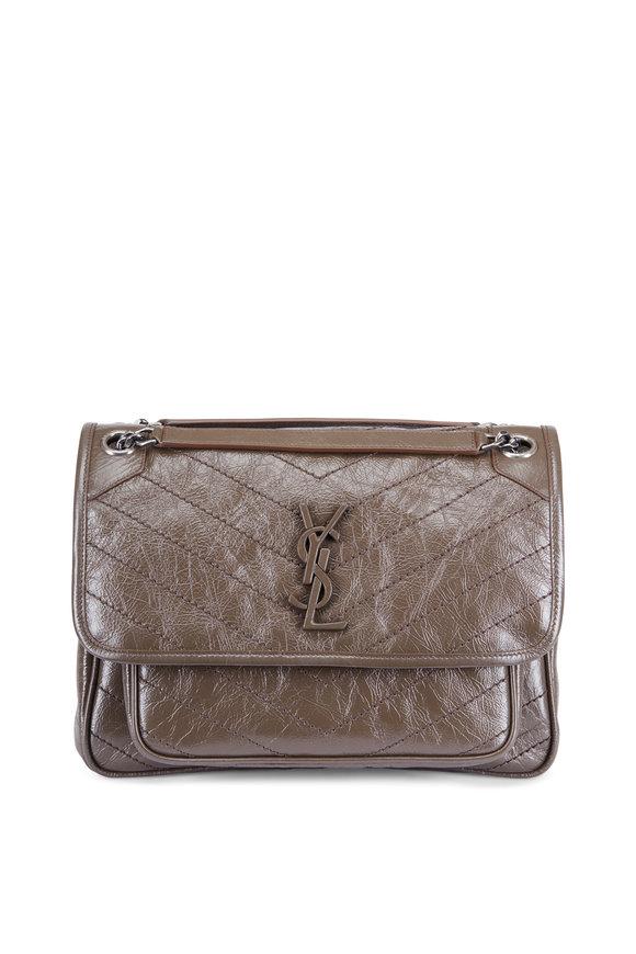 Saint Laurent Monogram Brown Quilted Leather Medium Bag