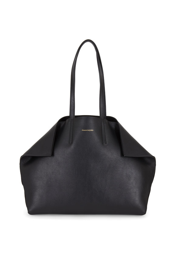 Alexander McQueen Butterfly Black Leather East-West Medium Tote