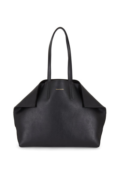 Alexander McQueen - Butterfly Black Leather East-West Medium Tote