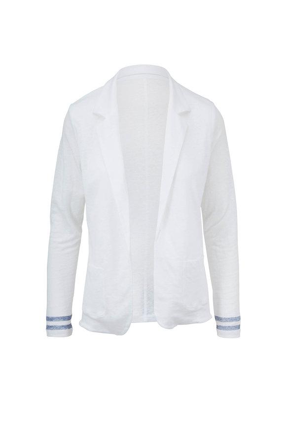 Majestic White Linen Open Front Jacket