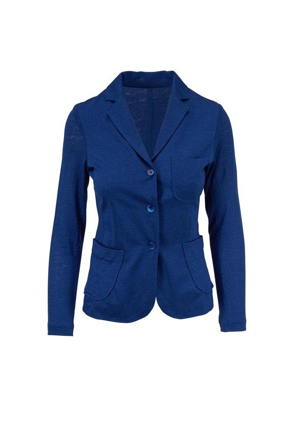 Majestic Blue Stretch Linen Patch Pocket Jacket