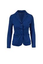 Majestic - Blue Stretch Linen Patch Pocket Jacket