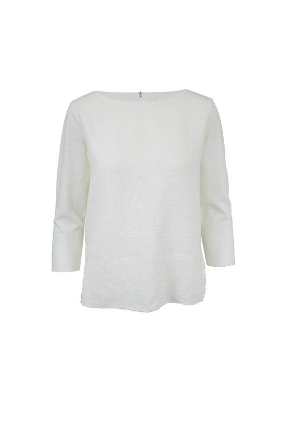 Majestic White Raw Edge Trim Deluxe T-Shirt