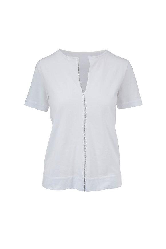 Majestic White Swarovski Crystal Trim V-Neck Deluxe T-Shirt