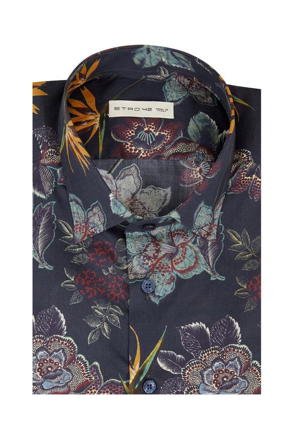 Etro Navy Floral Sport Shirt