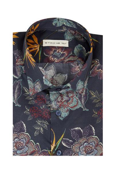 Etro - Navy Floral Sport Shirt