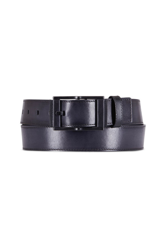 Berluti Black Square Buckle Belt