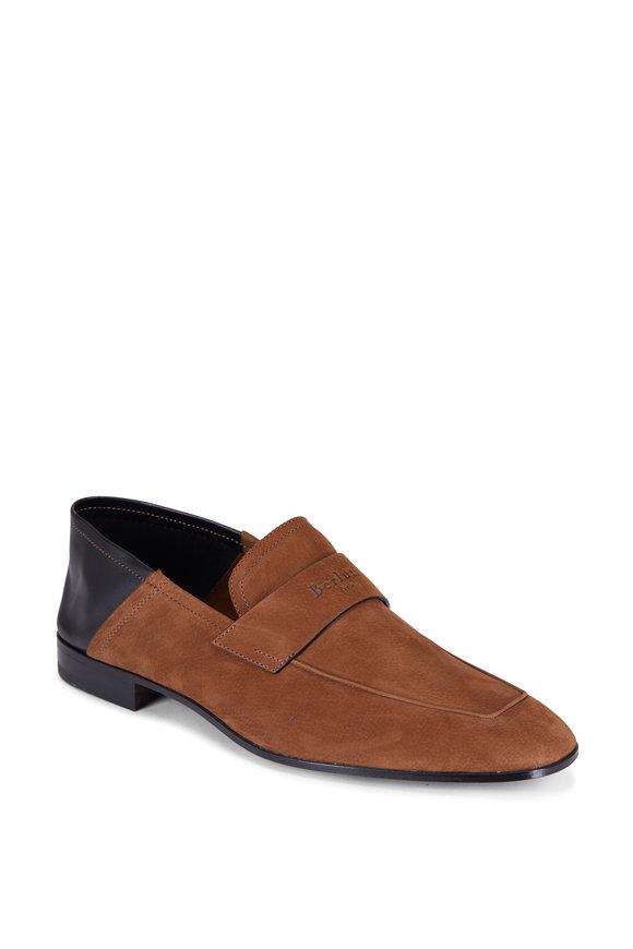 Berluti Tobacco & Black Grained Nubuck Leather Loafer