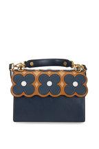 Fendi - Kan I Navy Blue & Caramel Floral Scalloped Bag