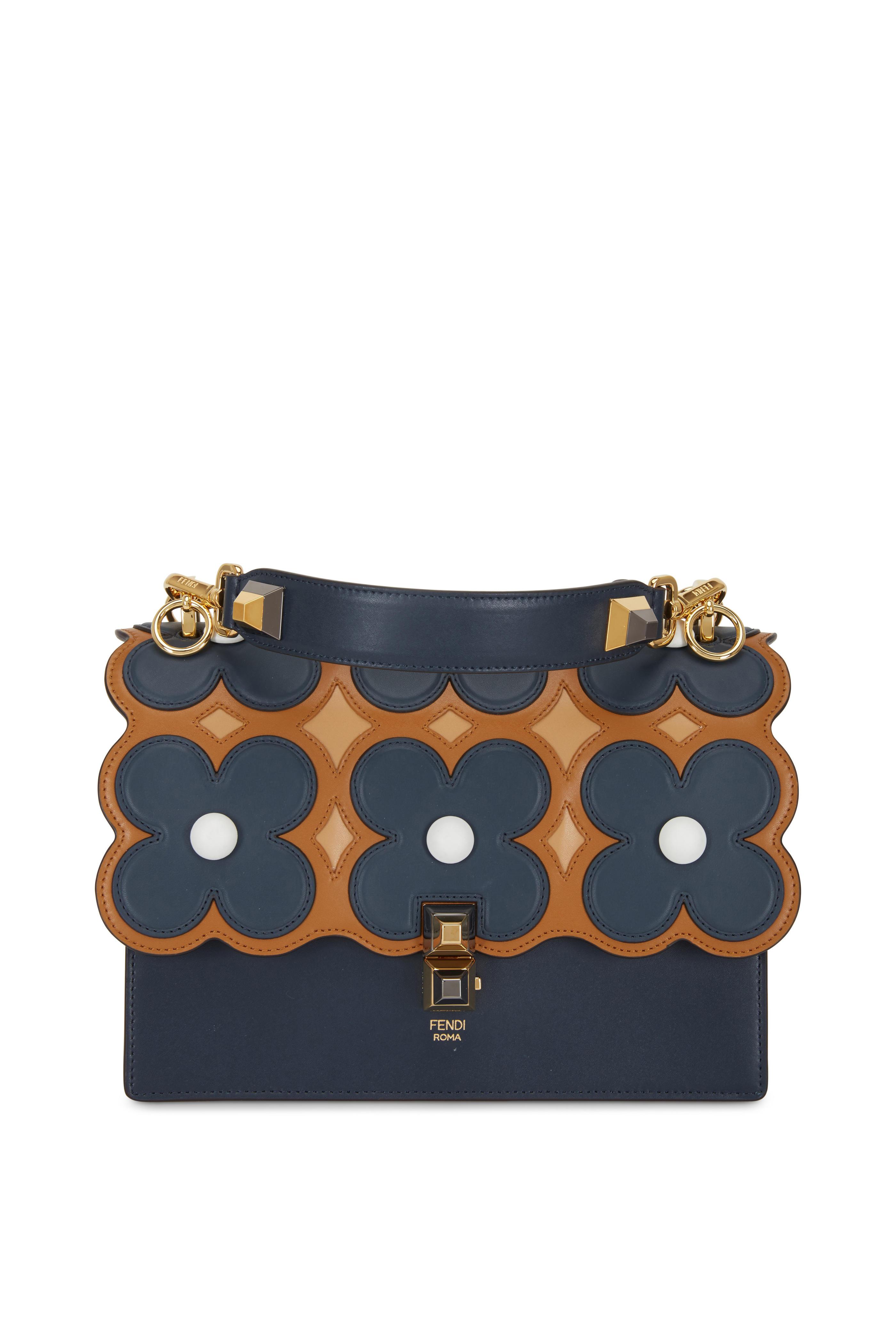 a2c20b44876 Fendi - Kan I Navy Blue   Caramel Floral Scalloped Bag   Mitchell Stores