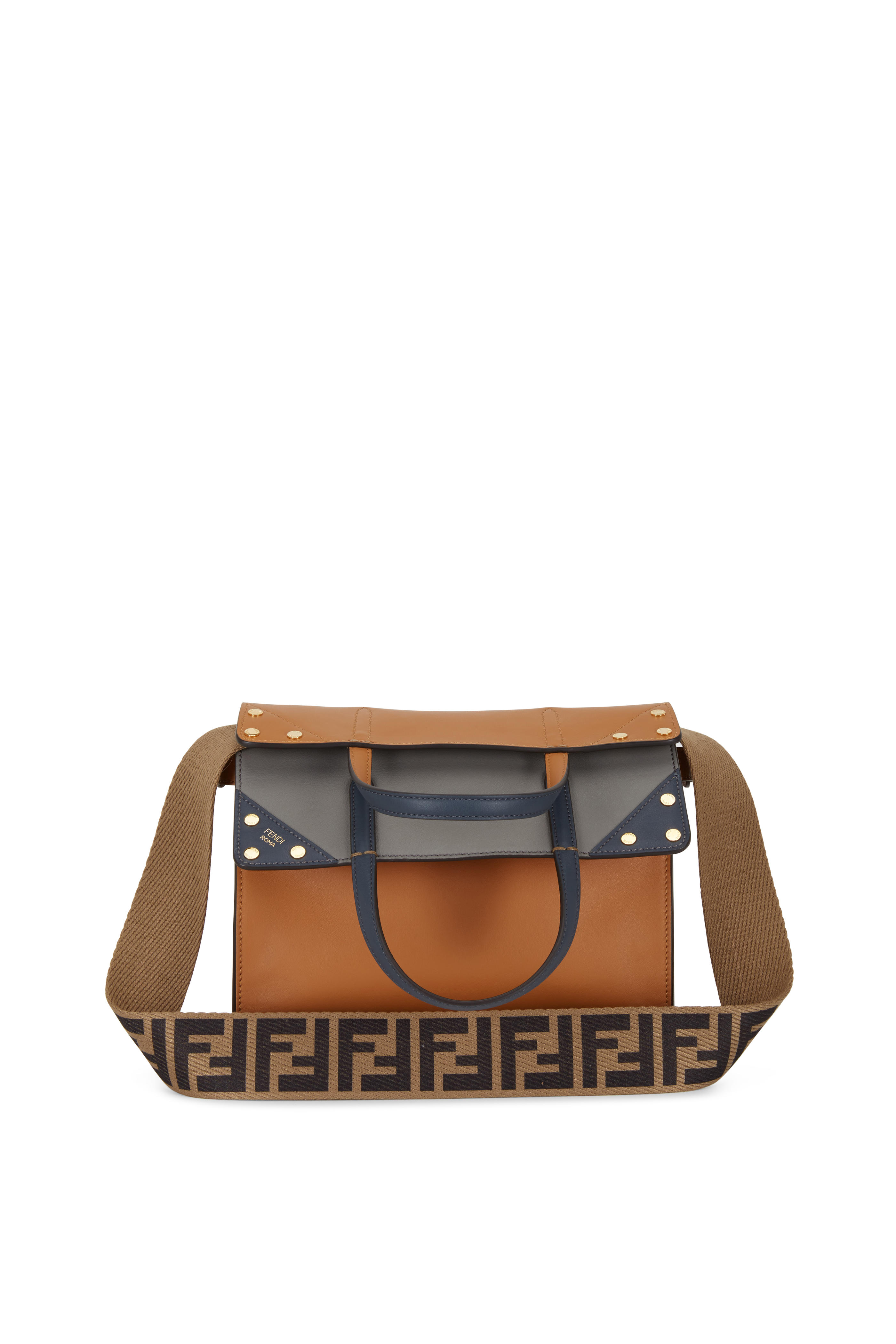 922b0aef Fendi - Flip Cognac & Gray Leather Small Bag | Mitchell Stores