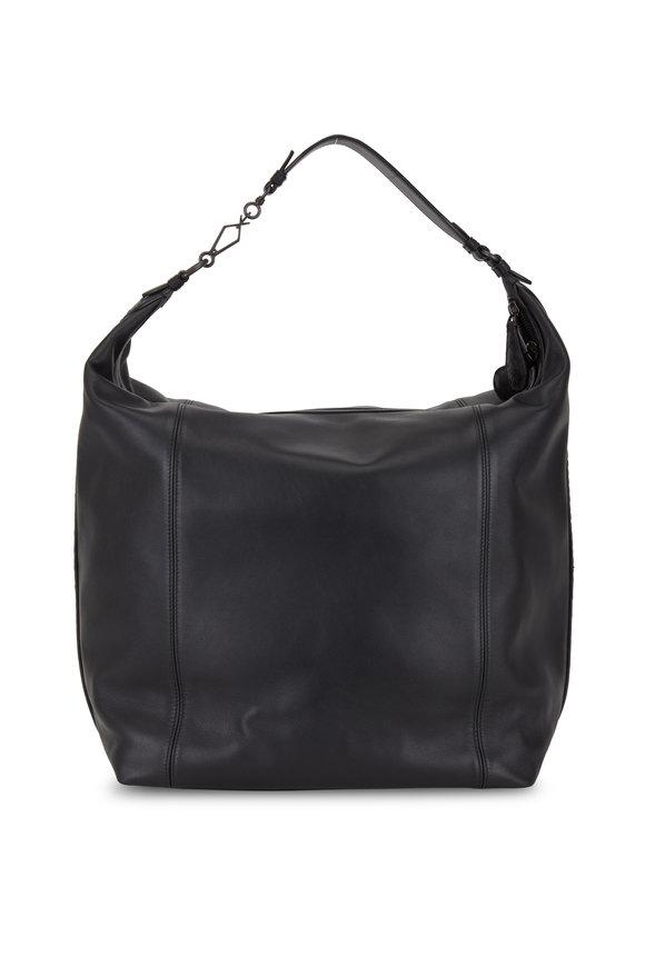 Bottega Veneta Black Leather Large Hobo Bag