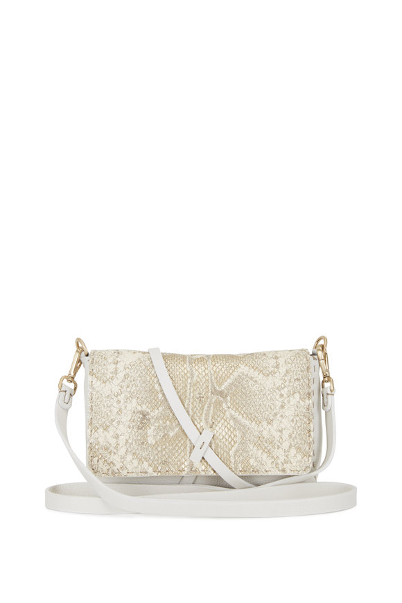 Henry Beguelin Dolce White Leather & Python Small Crossbody