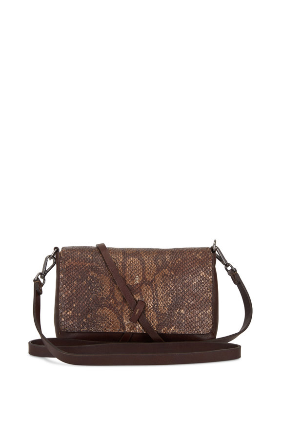 Henry Beguelin Dolce Brown Leather & Python Small Crossbody