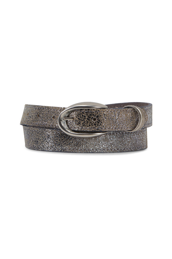 Kim White Metallic Etched Leather Oval Buckle Belt