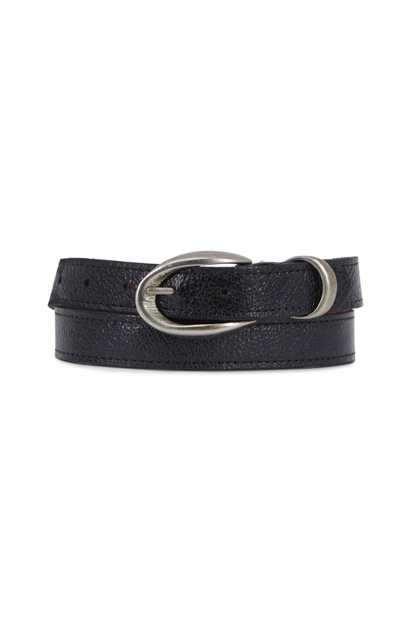 Kim White Black Etched Leather Oval Buckle Belt