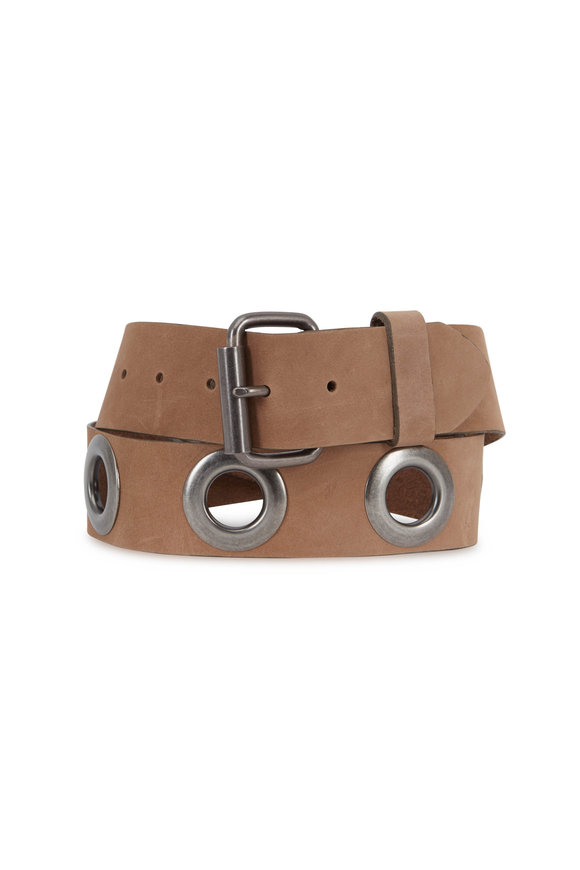 Kim White Tan Leather Grommet Belt