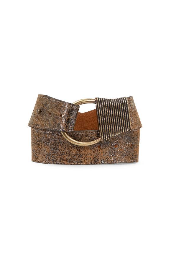 Kim White Antique Gold Metallic Leather Cast Rope Belt