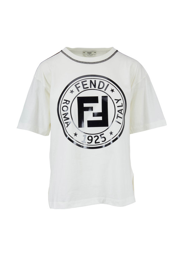 Fendi White Logo-Taped Short Sleeve T-Shirt