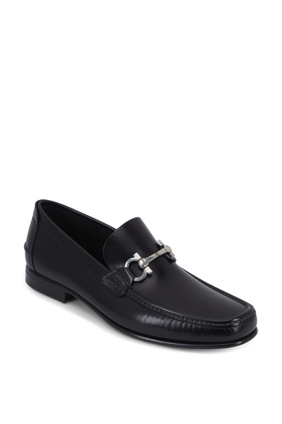 Salvatore Ferragamo Fiordi Black Leather Bit Loafer