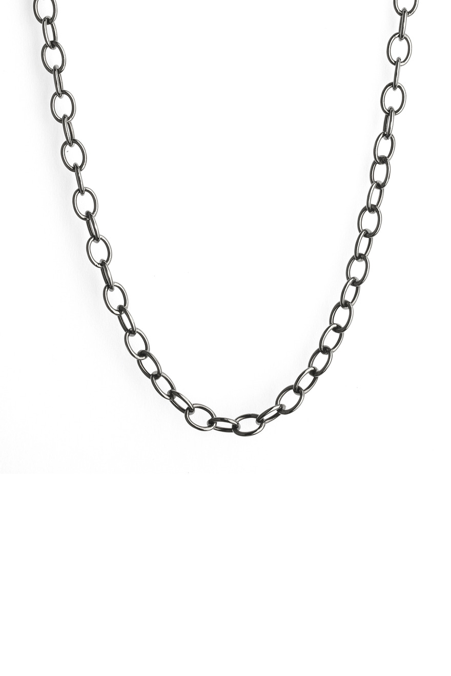 Blackend Sterling Silver Oval Link Chain